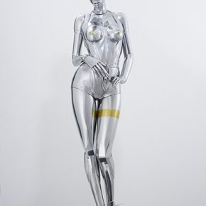 "011 Sorayama Hajime Sexy Robot 2016 FRP iron silver gold plating air brush paint LED neon light 182 x 60 x 60 cm 290x290 - Mori Art Museum presents ""The Universe and Art: Princess Kaguya, Leonardo da Vinci, teamLab"""
