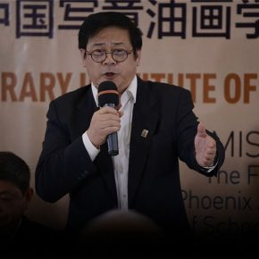 "07 Xu Li delivered a speech at the ceremony of establishing the institute 290x290 - Inheritance in Context & Inheritance of School – ""Beijing Academy of China Xieyi Oil Painting"" was established"