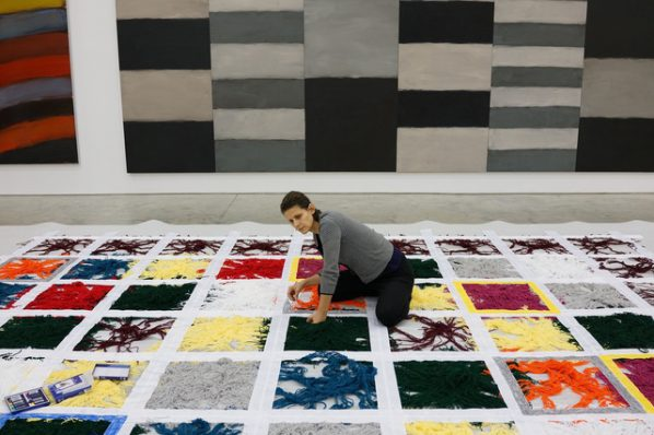 Liliane Tomasko works on the sculpture Untitled(1993-2016). Photo: Sean Scully