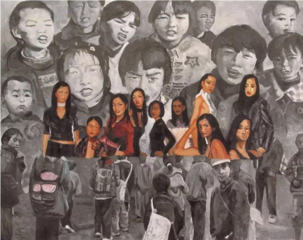 Yu Youhan, Children and Models, 2002; Acrylic on canvas, 250x196cm