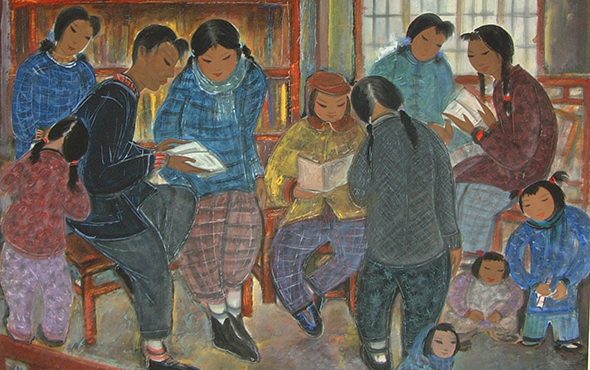 00 featured image of Lin Fengmian, The Sound of Reading Aloud, 77 x 92, in the 1950s, in the collection of Shanghai Academy of Chinese Painting