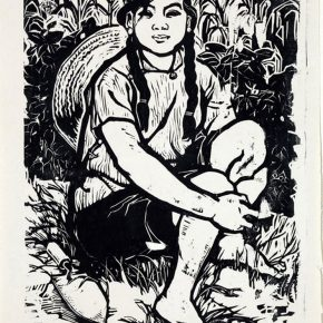 02 Tan Quanshu, Summer, 53 × 30 cm, black and white woodcut, pear wooden plate, 1963