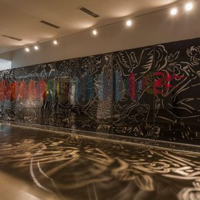 """03 Exhibition view of """"Fish and Dragon Change"""" Beijing Today Art Museum 190 x 900 cm photo courtesy of Qiao Xiaoguang 2014  290x290 - Qiao Xiaoguang: With Chinese Paper-Cuts I Talk About the Story of the World"""
