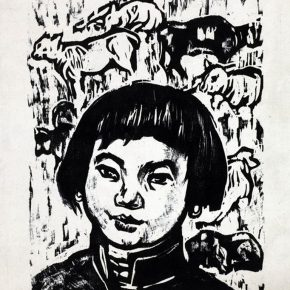 03 Tan Quanshu, Son of Grassland, 20 × 15 cm, black and white woodcut, pear wooden plate, 1964