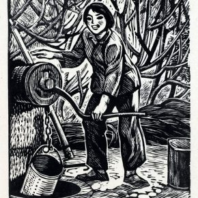 05 Tan Quanshu, At the Well, 12.5 x 11 cm, black and white woodcut, pear woodern plate, 1978