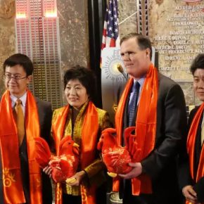 "06 Group photo of Lin Xi Director of the Department of Foreign Affairs of the Ministry of Culture Zhang Qiyue Chinese Consulate General in New York John B Kessler President and Chief Operating Officer 290x290 - 2017 ""Happy Chinese New Year: Fantastic Art China"" New York Events was Officially Opened"