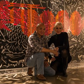 "07 Group photo of Qiao Xiaoguang and Norwegian artist Karen Bit Vejle in front of ""Fish and Dragon Change"", photo courtesy of Cao Liang, 2014"