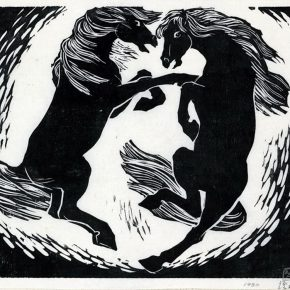 13 Tan Quanshu, Double Horses, 30 × 40 cm, black and white woodcut, five-layer plywood, 1980