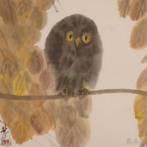 14 Lin Fengmian, Owl, ink and color on paper, 45 x 45 cm, 1960, in the collection of China Art Museum Shanghai