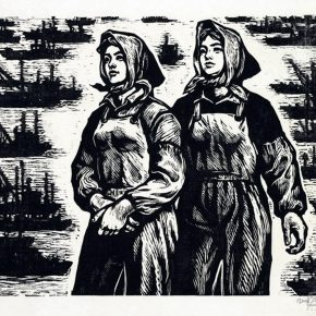 14 Tan Quanshu, Go to the Sea, 46 x 36 cm, black and white woodcut, five-layer plywood, 1980