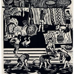 15 Tan Quanshu, Clear Up, 55 x 41 cm, black and white woodcut, five-layer plywood, 1980