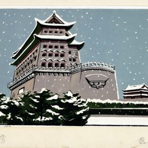 16 Tan Quanshu, The Snow Flying in the Zhengyang Gate, 41.5 x 28.8 cm, chromatography woodcut, five-layer plywood, 1981