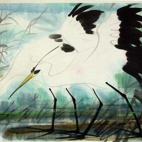 19 Lin Fengmian, Autumn Heron, 1975, 49 x 69.5 cm, in the collection of Shanghai Academy of Chinese Painting