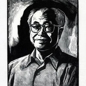 20 20 Tan Quanshu, Portrait of Zhang Zhengliang, 50 x 60 cm, black and white woodcut, five-layer plywood, 2000