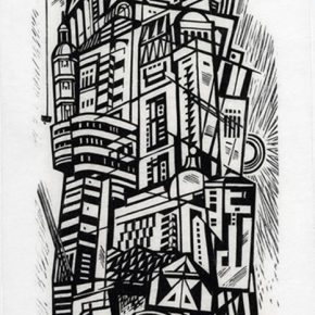 23 Tan Quanshu, Disordered Space, 72 × 33 cm, black and white woodcut, five-layer plywood, 2003