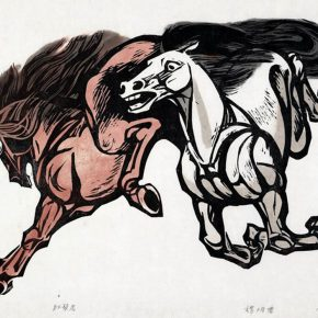 27 Tan Quanshu Red Mane Horse 46 x 66 cm chromatography woodcut five layer plywood 1987 290x290 - Tan Quanshu