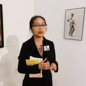 "27 The young participating artist Yan Ruonan was interviewed by the media 290x290 - 2017 ""Happy Chinese New Year: Fantastic Art China"" New York Events was Officially Opened"