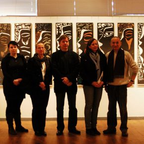 """28 Group photo of Qiao Xiaoguang and the daughter of Ulises the last successor of the Finnish epic """"Kalevala"""" in the exhibition hall  290x290 - Qiao Xiaoguang: With Chinese Paper-Cuts I Talk About the Story of the World"""