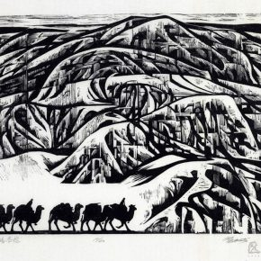 28 Tan Quanshu, The Vast Silk Road, 60 x 46 cm, black and white woodcut, five-layer plywood, 1993