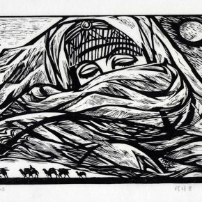 29 Tan Quanshu, Eternal Attachment, 45 x 66 cm, black and white woodcut, five-layer plywood, 1990