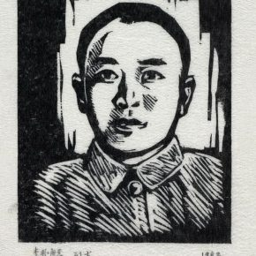 34 Tan Quanshu, Nine Martyrs, 10 × 12 cm, black and white woodcut, five-layer plywood, 1982