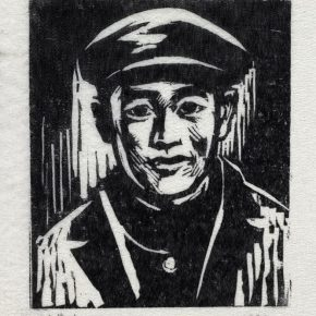 36 Tan Quanshu, Nine Martyrs, 10 × 12 cm, black and white woodcut, five-layer plywood, 1982