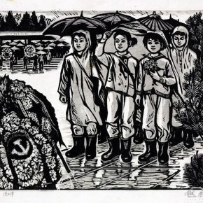 40 Tan Quanshu Tomb Sweeping Day 41 x 27 cm black and white woodcut pear wooden plate 1979 290x290 - Tan Quanshu