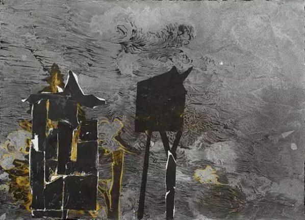 Chen Yujun, Temporary Constructions No.6, 2014; Handmade paper, ink, acrylic, 150x200cm