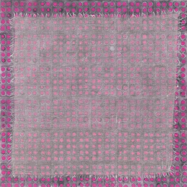 Zhang Yanzi, Medi-Chip 7, 2016; Ink on paper and gauze bandages, 68x68cm