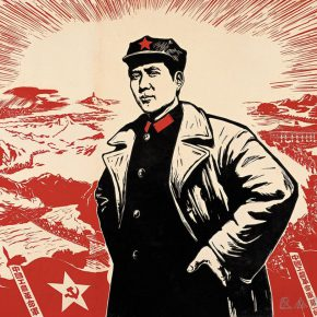 01 Wu Biduan, Comrade Mao Zedong on the Road of Long March, 106 × 114 cm, chromatic woodcut, 1967, in the collection of National Art Museum of China