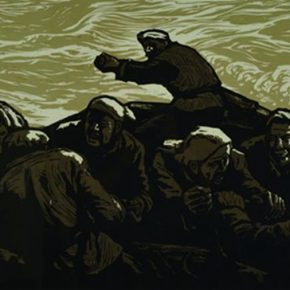 02 Wu Biduan, In the Torrent, 55 × 139 cm, chromatic woodcut, 1990, in the collection of CAFA Art Museum