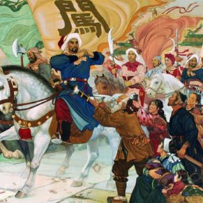 09 Wu Biduan, Lu Hongnian, Li Zicheng Entered Beijing City, 180 × 400 cm, meticulous heavy colored painting, 1973, in the collection of National Museum of China