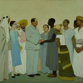 10 Wu Biduan, Jin Shangyi, Chairman Mao and the People of Asia and Africa Are Together, 143 × 156 cm, gouache on paper, 1961, in the collection of CAFA Art Museum