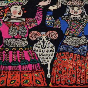 11 Wu Biduan, Dance, 40 × 60 cm, colored woodcut, 1986, in the collection of National Art Museum of China
