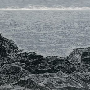 12 Wu Biduan,Tangshan Earthquake, 40 × 90 cm, black and white woodcut, 2006, in the collection of National Art Museum of China