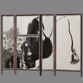 "13 Pan Gongkai and Shang Xia, ""Lotus Style"", walnut, silk, hand embroidery, 240 x 176 cm, 2017"