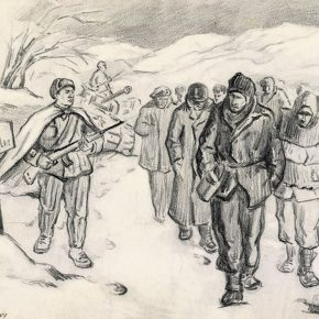13 Wu Biduan, They Have Crossed the 38th Parallel, 23 x 30 cm, sketch on paper, 1951, in the collection of the National Art Museum of China