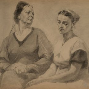 14 Wu Biduan, Study of Double Models When He Studied overseas in the Soviet Union - Between Mother-in-Law and Daughter-in-Law, 59 × 72cm, sketch on paper, 1957, private collection of Wu Biduan