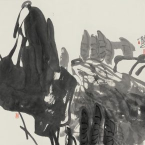 """16 Pan Gongkai, """"The Gentle Early Summer Ink Lotus Figure"""", 69 x 136 cm, 2005"""