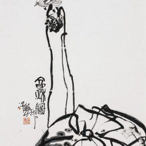 "18 Pan Gongkai, ""Late Autumn Figure"", 98 x 180 cm, 2014"