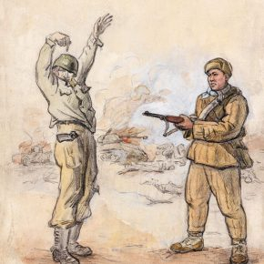 20 Wu Biduan, Here the Gun is, 27.5 × 21.5 cm, sketch on paper, 1951, in the collection of National Art Museum of China