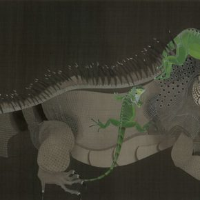 26 Sui Rui, The Big Dragon, meticulous silk painting, 140 x 70 cm, 2014