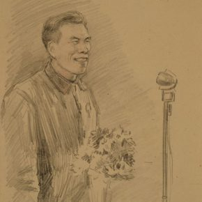 27 Wu Biduan, CAFA invited Datong Coal Mining model Ma Liuhaier to come to the auditorium of the academy and gave a speech, 27 × 20 cm, sketch on paper, 1952, private collection of Wu Biduan