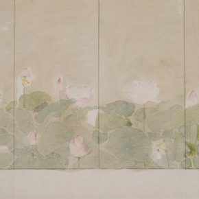 36 Wu Biduan, Lotus Screen, ink and color on paper, 27 x 54 cm, 1999, private collection by Wu Biduan