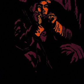 39 Wu Biduan, Singing for the Motherland, 23 × 14 cm, chromatic woodcut,1962, in the collection of National Art Museum of China