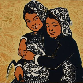 42 Wu Biduan, The Joy of Harvest, 40 × 55 cm, chromatic woodcut, 1979, in the collection of National Art Museum of China