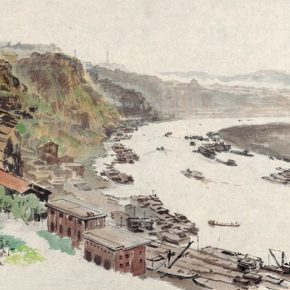 45 Wu Biduan, Chongqing Chaotianmen Pier, 31 x 51 cm, ink and color on paper, 1979, private collection of Wu Biduan