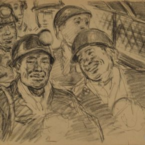 46 Wu Biduan, Take the Elevator to Go Down to the Mine, 19 x 26 cm, 1960, private collection of Wu Biduan