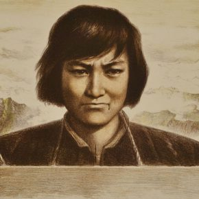 53 Wu Biduan, Tragic Zhang Zhixin, lithograph, 39 x 55 cm, 1979, in the collection of CAFA Art Museum