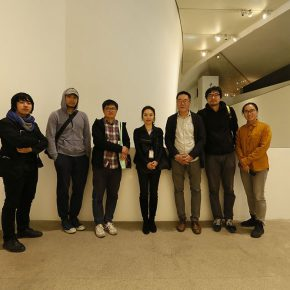 01 (From left to right) curator Liu Tian, artists Liu Yue, Liao Fei, Chen Zhe, Wang Huangsheng, Director of the CAFA Art Museum, artist Jiang Zhuyun, the chief implementation of the project space Liu Xiyan